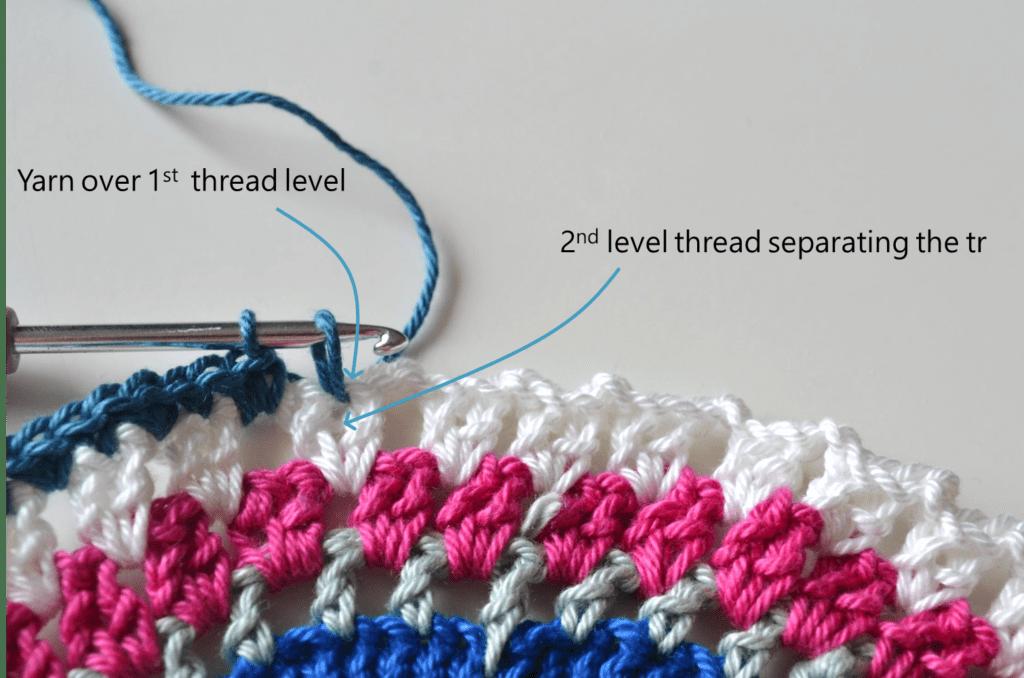 Mandala Placemat free crochet pattern step 10 detail explanaition