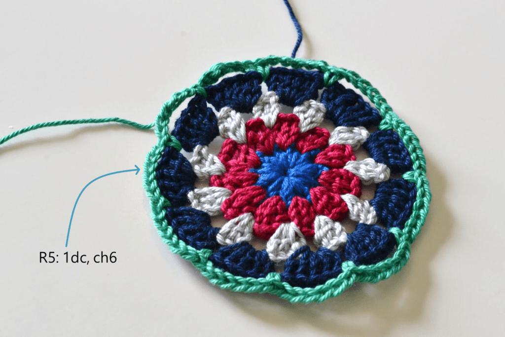 Mandala Placemat free crochet pattern step 5
