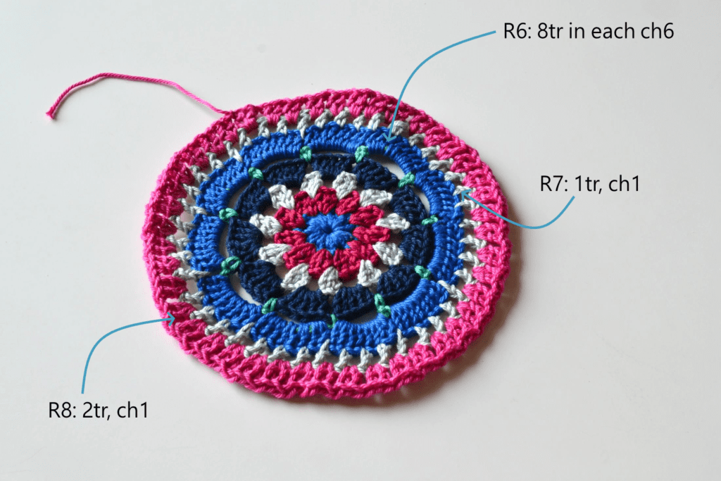 Mandala Placemat free crochet pattern step 6 to 8