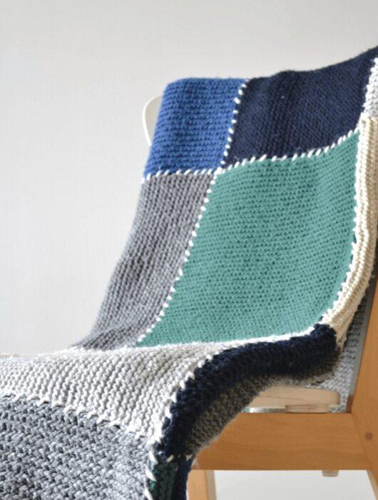 Block blanket free knitting pattern