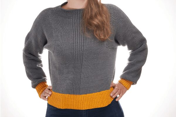 Sunshine crop sweater free knitting pattern
