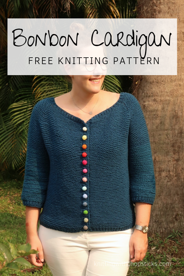 The Bonbon Cardigan Knitting Pattern : An easy knitted raglan sweater free pattern