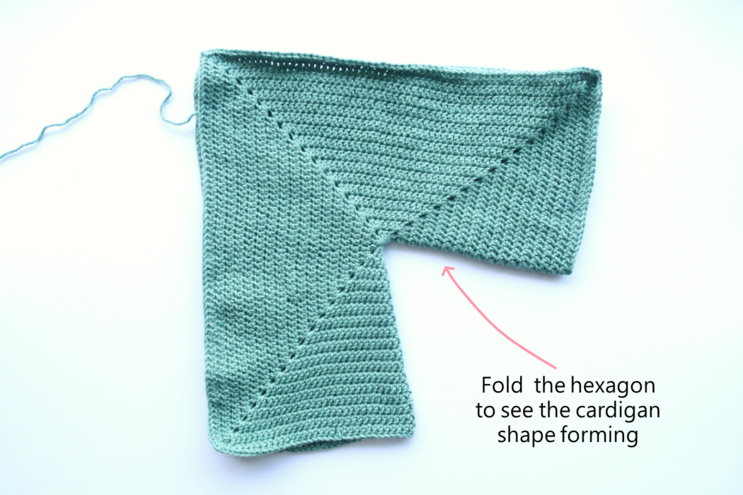 folding your hexagon will help you see the cardigan taking shape
