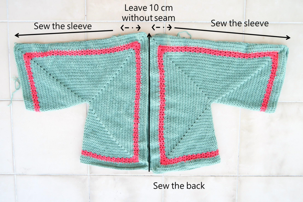 Assembly of both hexagons of the long cardigan crochet pattern