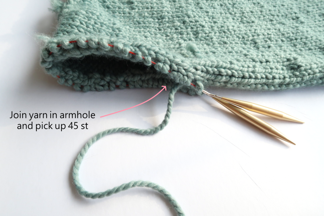 Knit cardigan pattern join yarn in the armholes