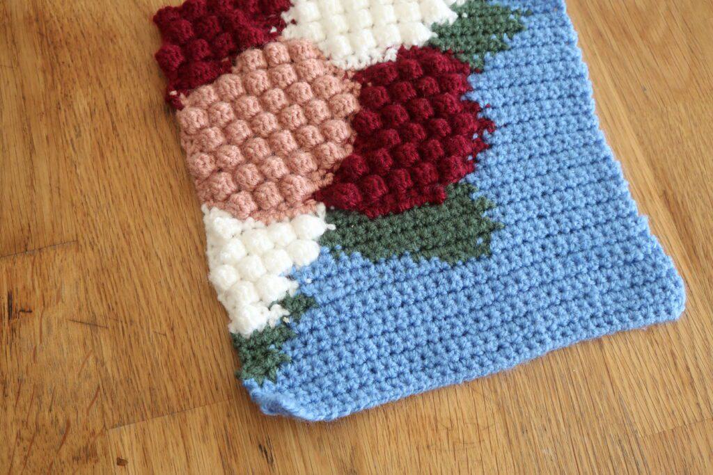Hydrangea crochet blanket square