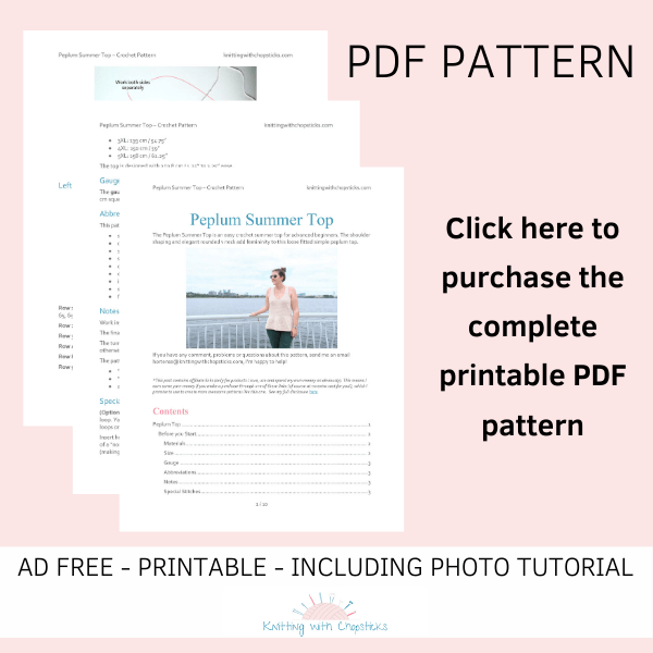 PDF download of the crochet summer top pattern