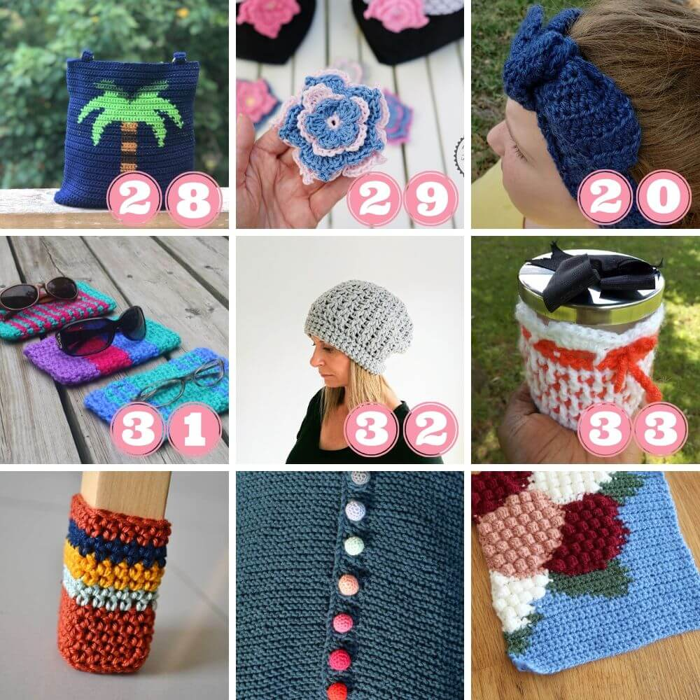 Projects for leftover yarn 28 to 33 + bonusses