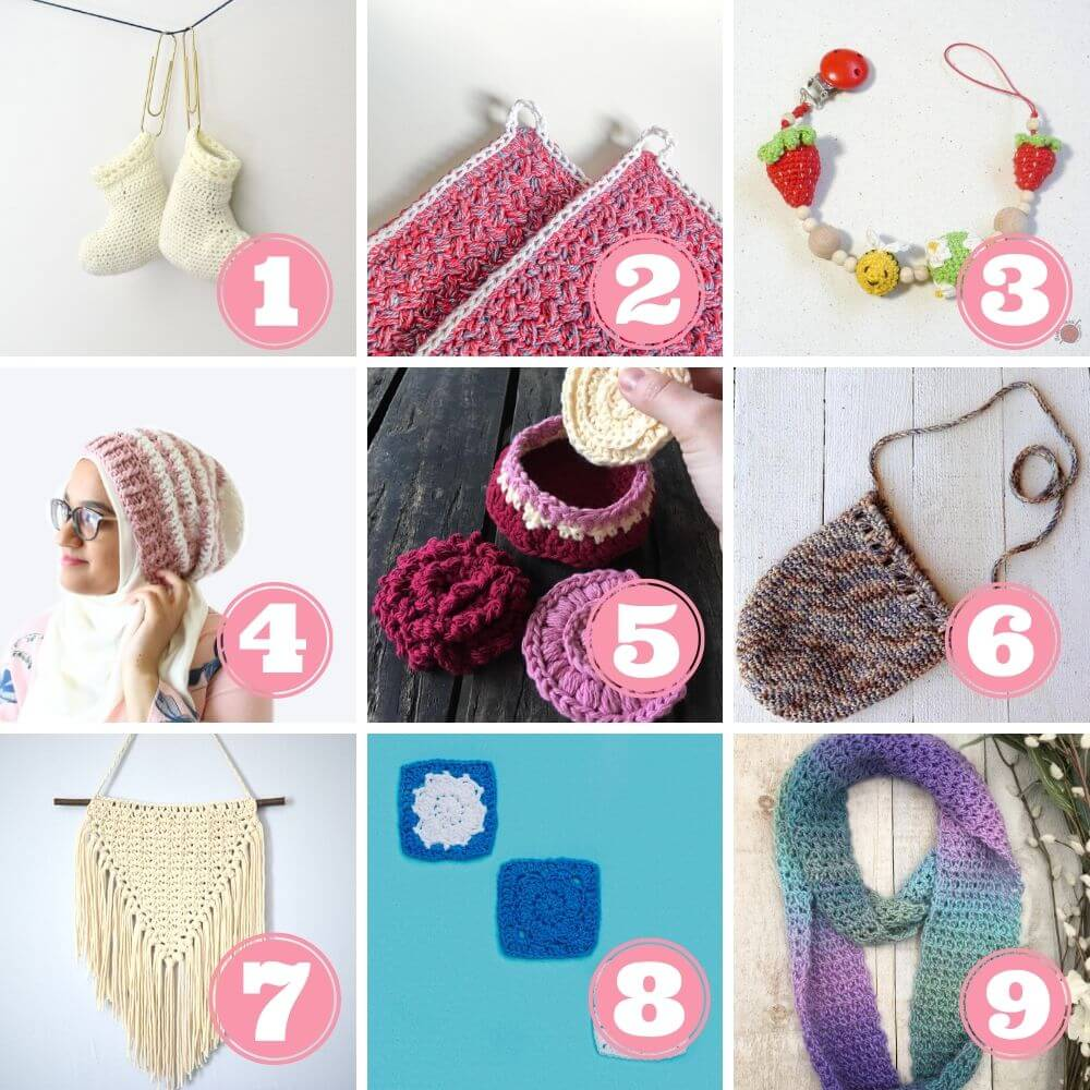 What to do with leftover yarn week 4 patterns 1 to 9