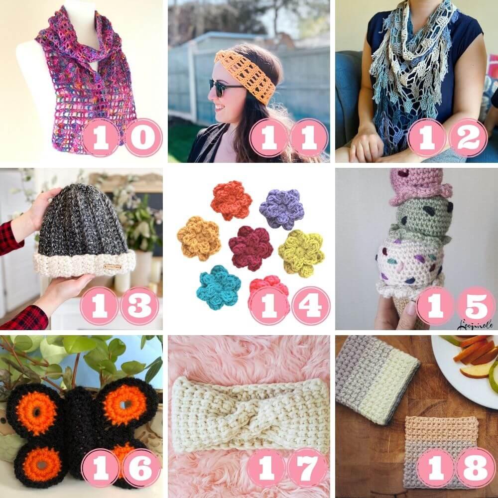 Scrap yarn crochet projects week 4 patterns 10 to 18