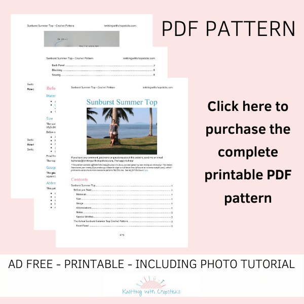 Sunburst pattern for crochet top click here to purchase the ad free printable PDF