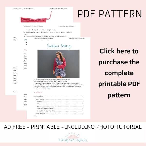 Ad free printable Swallow Shrug knitting pattern PDF