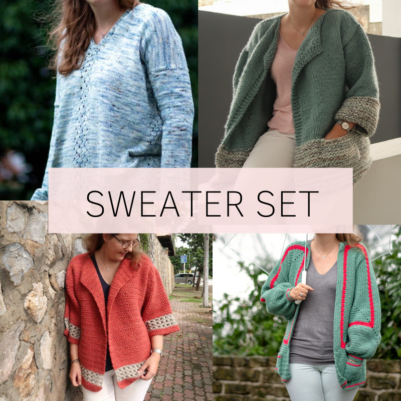 bestselling knit and crochet sweaters and cardigans by Knitting with Chopsticks