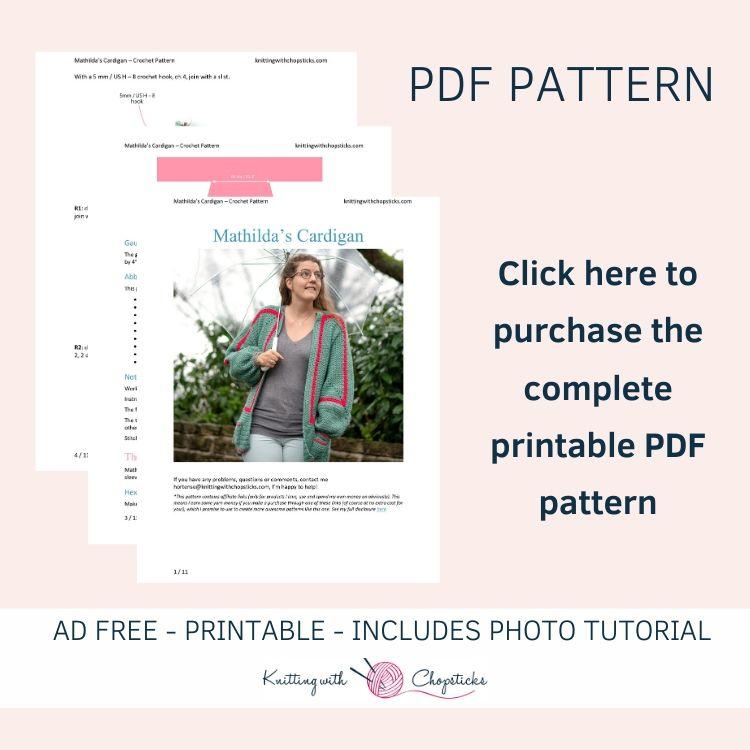 ad-free printable pdf pattern of mathilda's balloon sleeve crochet cardigan
