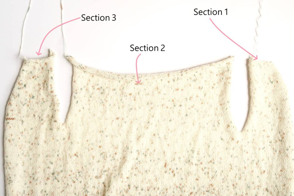 Divide the cardigan in 3 sections and work separately to form the front and back panels.