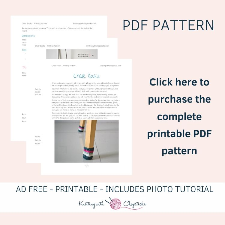 Click here to purchase the ad free PDF of the chair socks knitting pattern