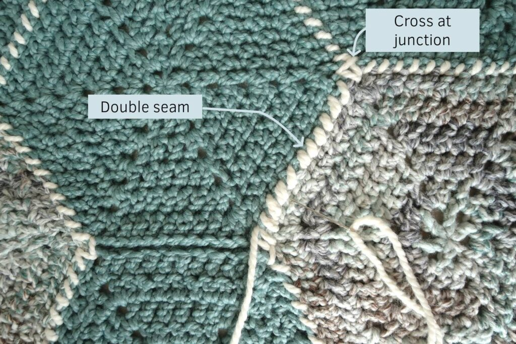 Make a cross at the junction of 3 hexagons and use a double seam to avoid small sections with many ends to weave in.