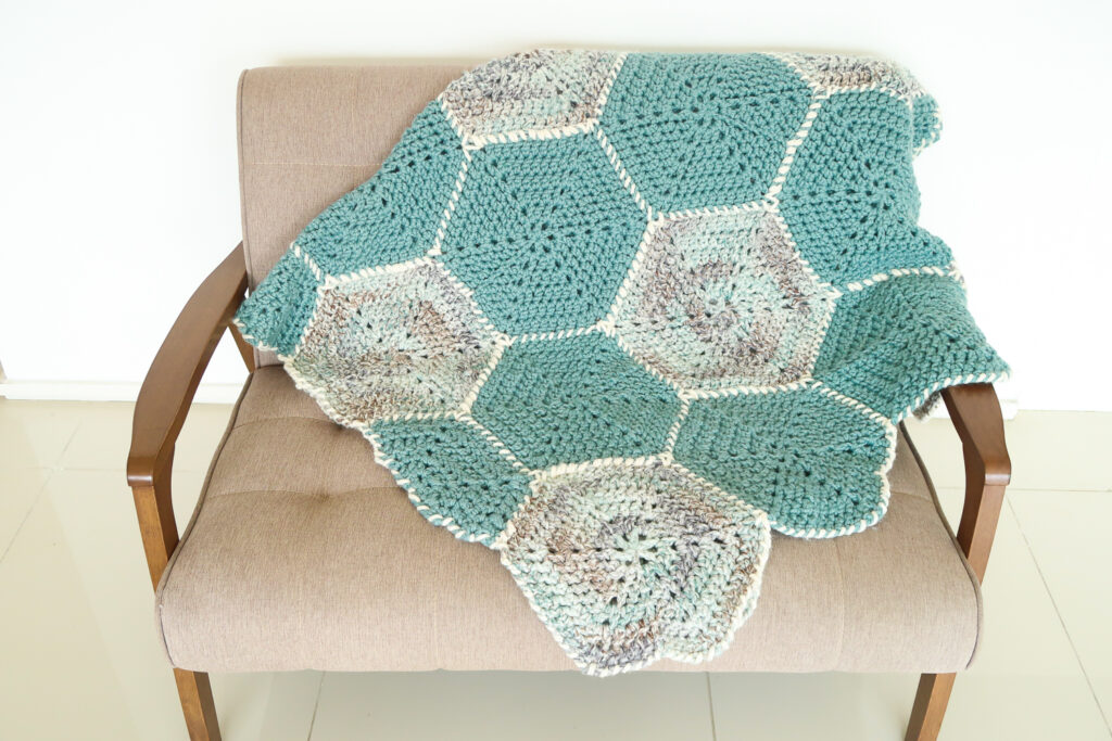 Hexagon flower blanket crochet pattern free and easy