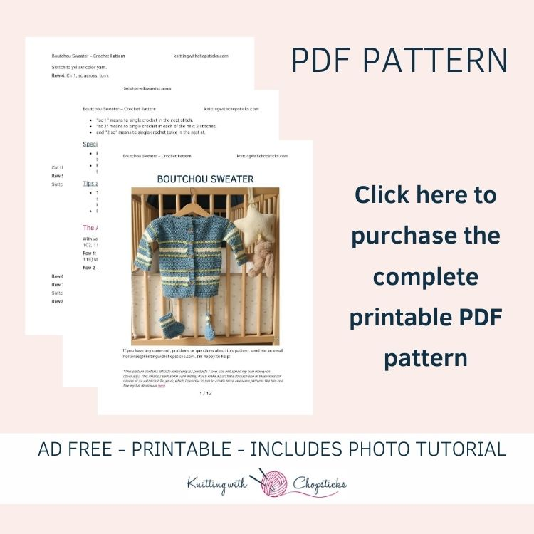 Click here to purchase the PDF for the baby sweater crochet pattern
