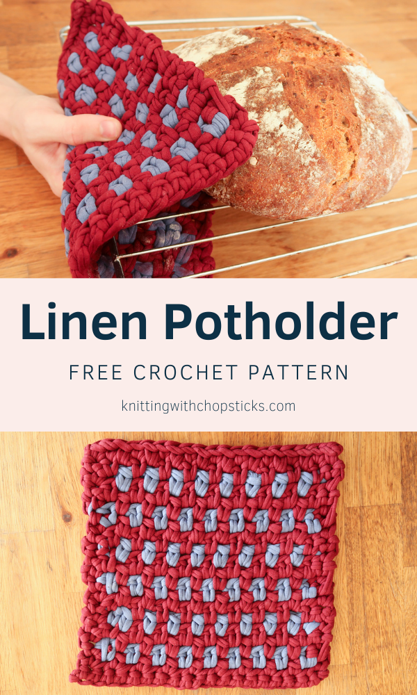FREE linen crochet potholder pattern