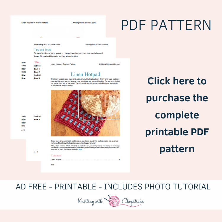 printable pdf pattern of potholder crochet pattern