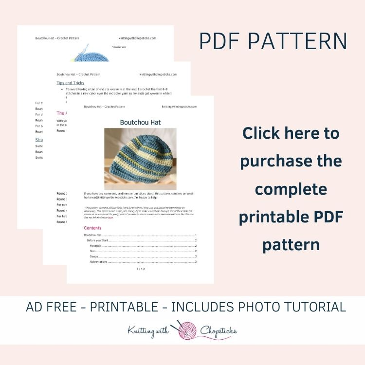 Click here to purchase the complete printable Baby Hat Crochet Pattern PDF