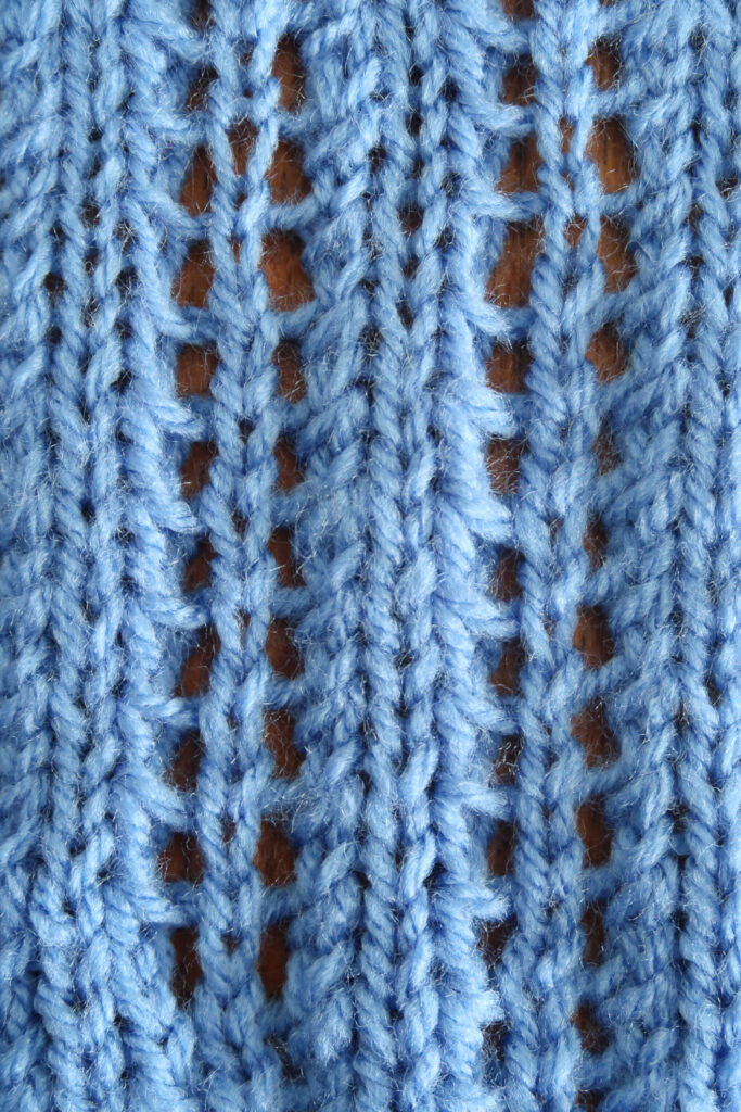 Ladder knit stitch pattern zoomed in for details