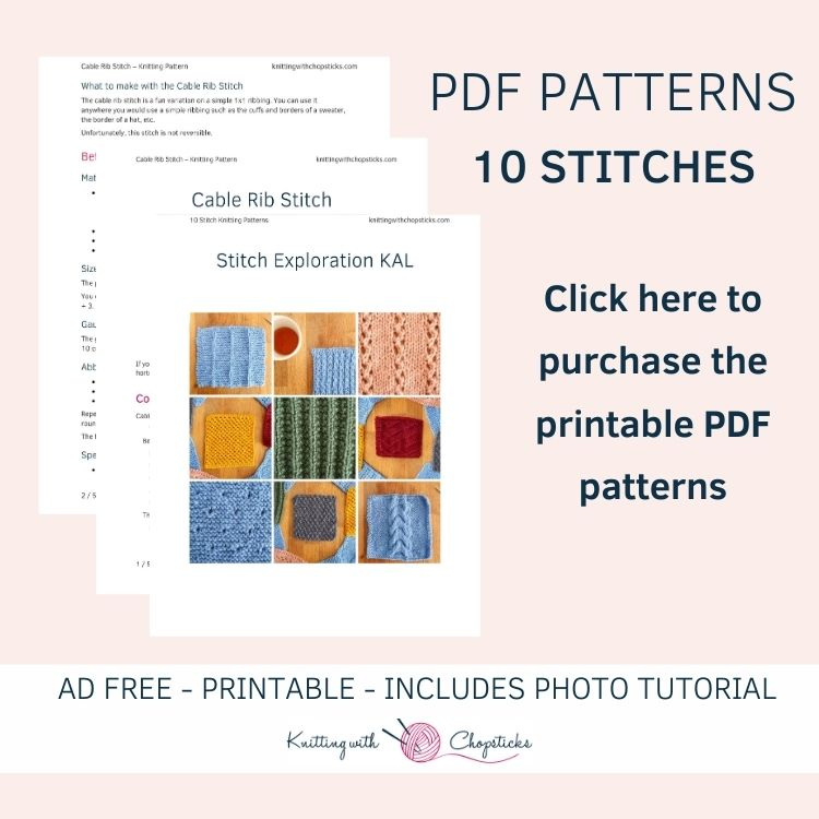 Click here to purchase the PDF with all 10 knit stitches
