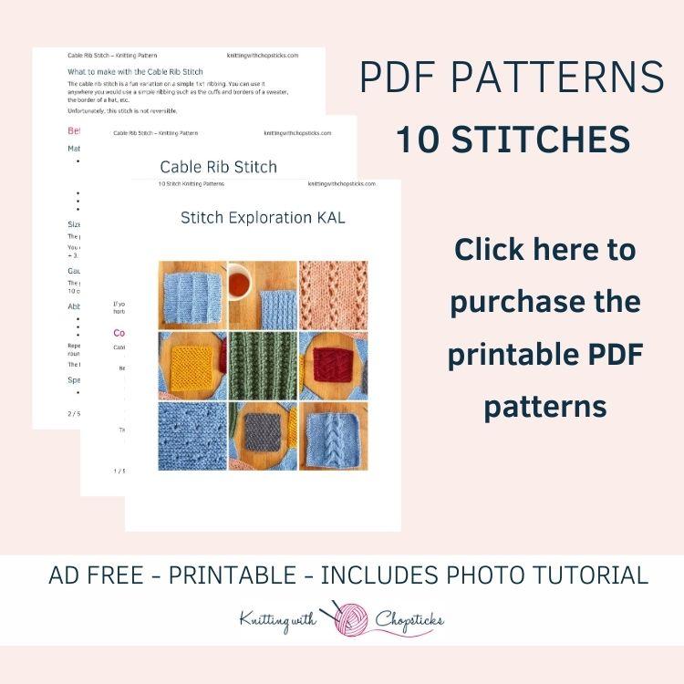 10 knitting stitches printable pdf patterns