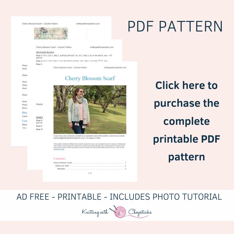 printable PDF scarf crochet pattern easy