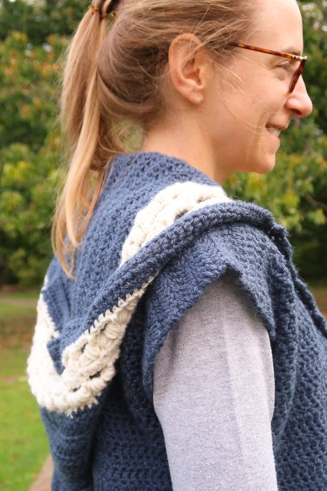 hooded vest crochet pattern for women