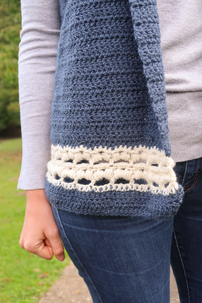 Bottom details of the dusk hooded vest crochet pattern free