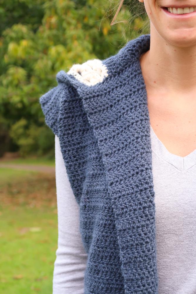 Front details of the dusk hooded vest crochet pattern