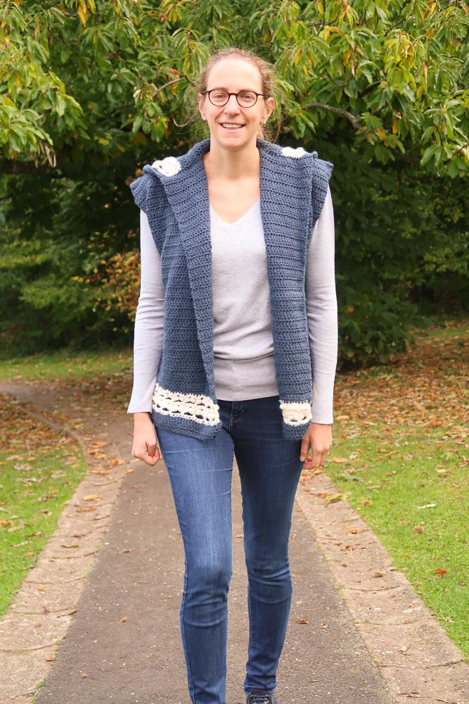 Dusk hooded boho crochet vest pattern FREE