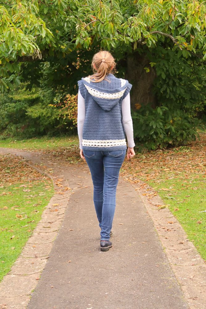 Back side view of the hooded crochet vest