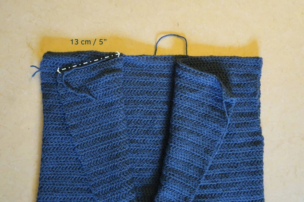 "Assembly: sew the shoulders leaving 13 cm / 5"" unseamed"