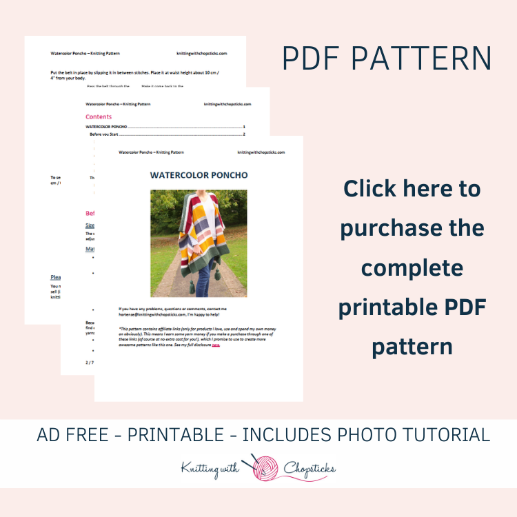 click here to purchase the ad free PDF pattern of this easy knit poncho pattern