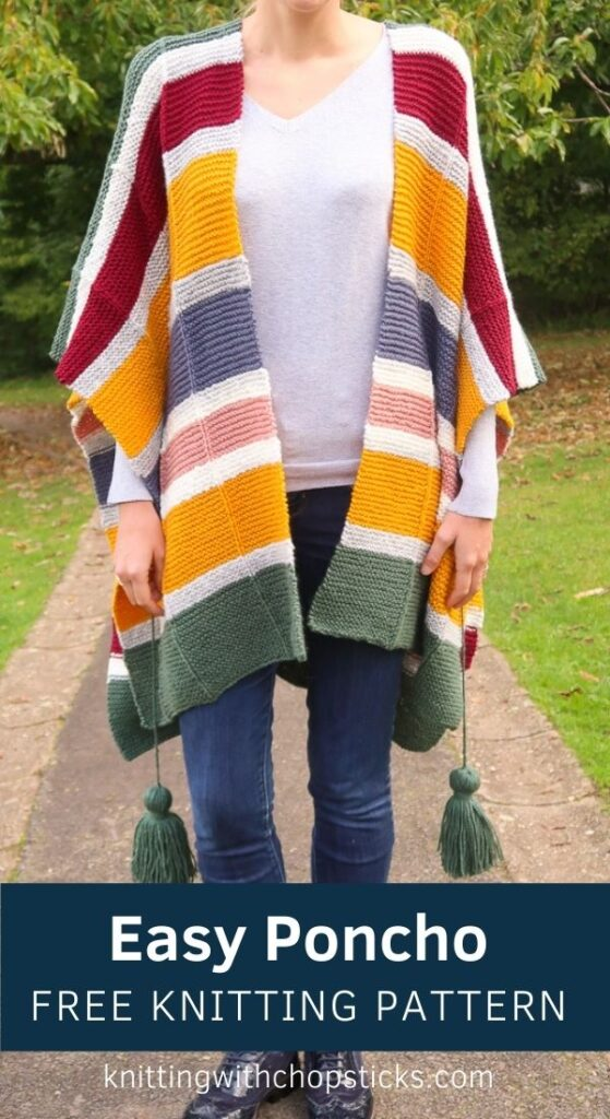 Easy Poncho Knitting Pattern FREE - Watercolor Poncho