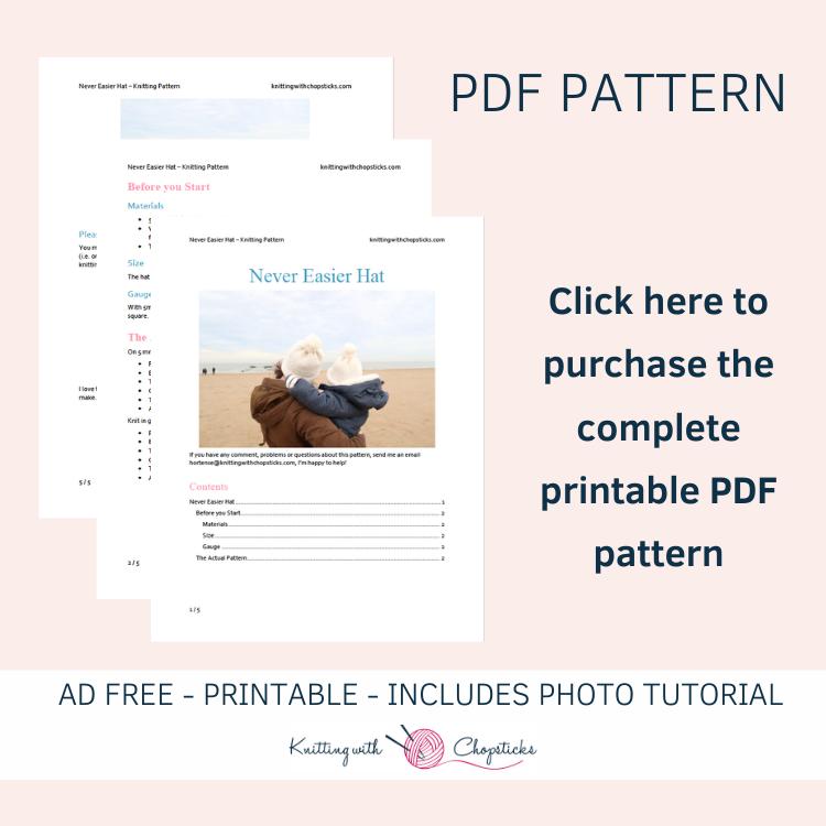 printable pdf pattern of easy hat knitting pattern