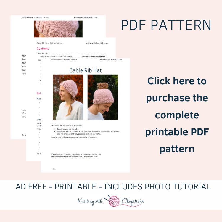 printable pdf of knit messy bun beanie pattern
