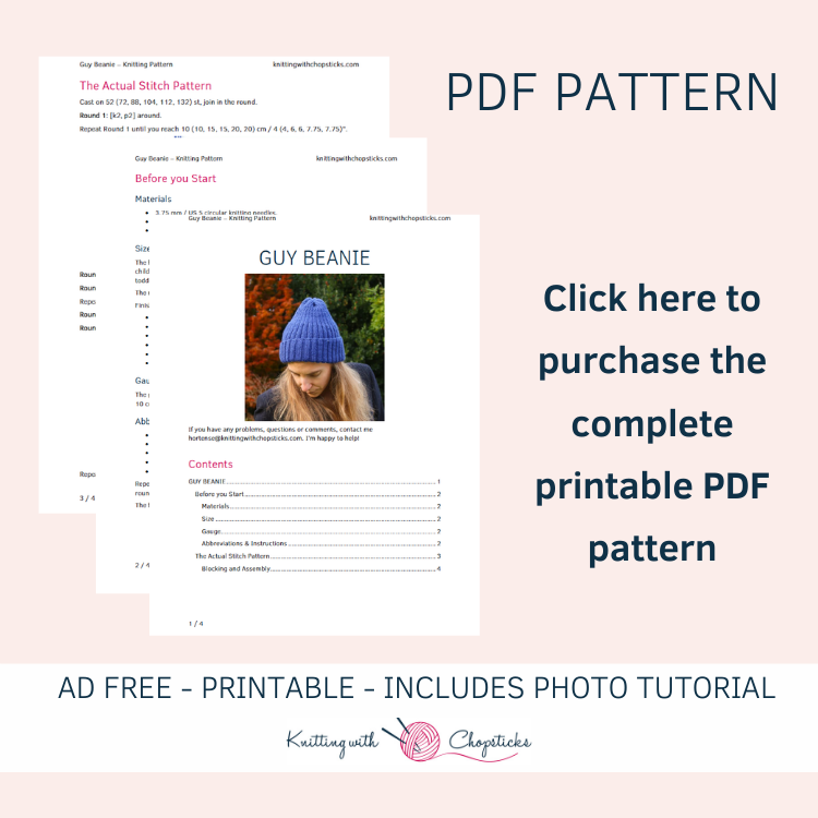 Click here to purchase the Guy beanie printable pdf knit hat pattern