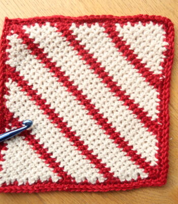 candy cane crochet square pattern