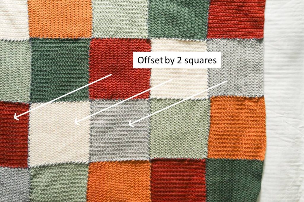 How to offset your blanket crochet squares by 2 to avoid touching colors