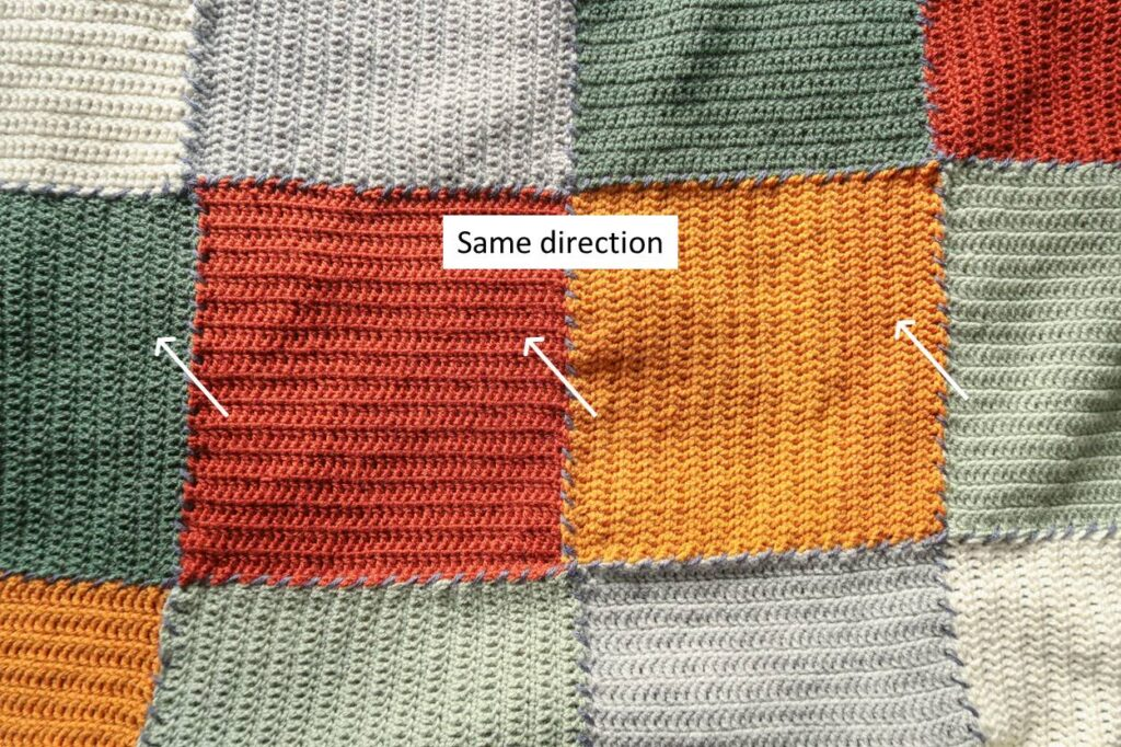 Make all seams in the same direction throughout the crochet blanket
