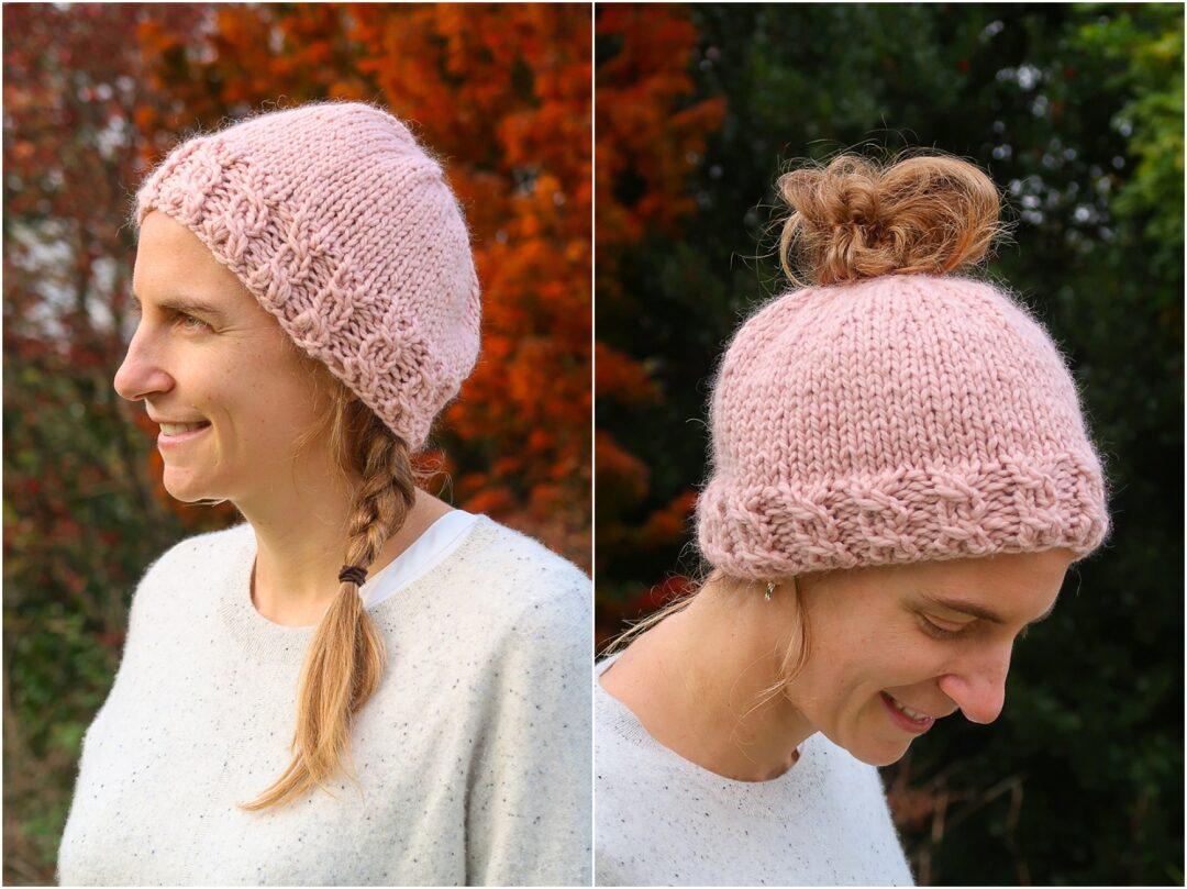 knit messy bun beanie pattern
