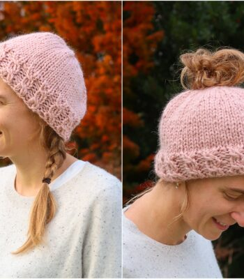 knit messy bun beanie pattern