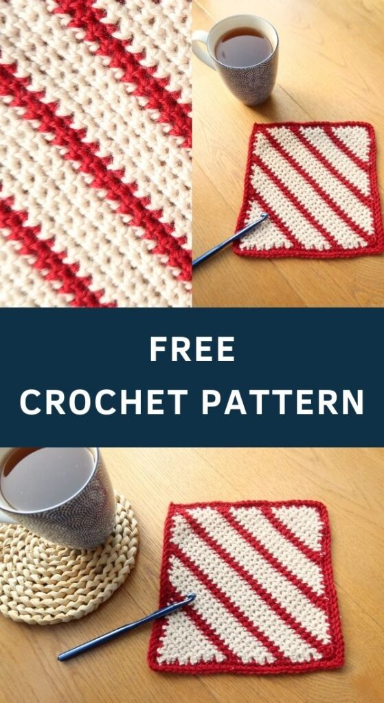 Candy Cane Crochet Blanket Square - Doubles as a potholder