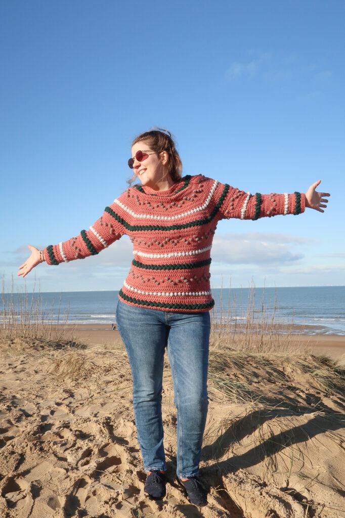 Finished bumpy seamless crochet sweater pattern