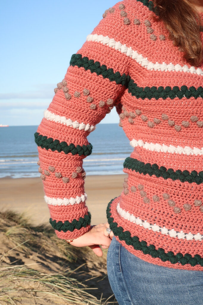 texture on the free Top down crochet sweater pattern