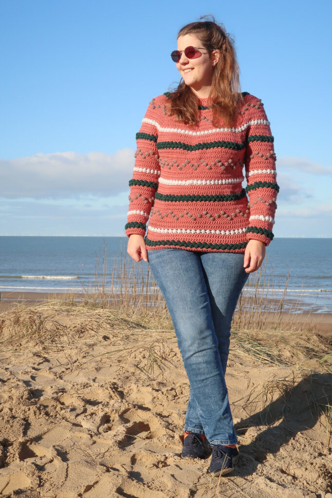 top down construction of the seamless crochet sweater pattern